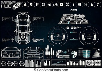 futuriste, service voiture, stlye, interface., utilisateur, hud
