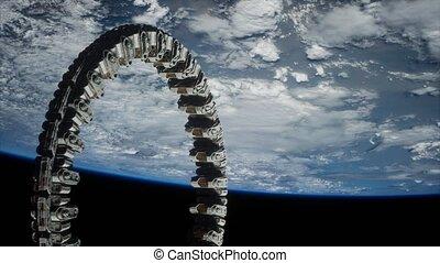 futuriste, station, la terre, espace, orbite