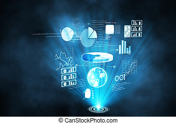 futuriste, technologie, interface