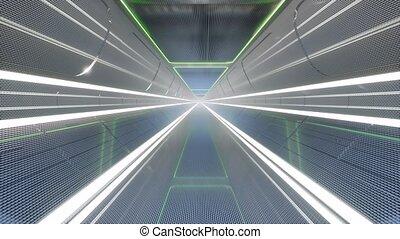 futuriste, tunnel, numérique, moderne, géométrique, ...