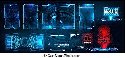 futuriste, ui, interface., hud, gui, callouts, titres, écrans