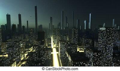 futuriste, ville, concept