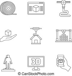 Futuristic 3d printer icon set, outline style