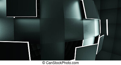 Futuristic 3d render illustration technology background. Abstract structure with cyan glowing spheres