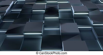 Futuristic 3d render illustration technology background. Abstract structure with glowing cubes.