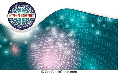 Futuristic abstract background and binary code the words internet marketing, seo, blog, social media, advertising; web design