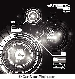 Futuristic abstract background, interface, HUD, vector