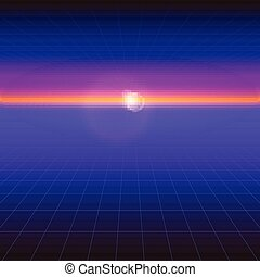 Futuristic abstract background with the sun on the horizon. Sci fi violet retro gradient, vintage style of the 80s. Digital cyber world, virtual surface with neon grids. Vector for design of layout.