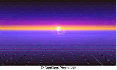 Futuristic abstract background with the sunlight rays on the horizon. Horizontal Sci-fi retro gradient, vintage style of the 80s. Digital cyber world, virtual surface with neon grids.