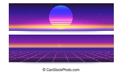 Futuristic abstract banners with the sun rays on the horizon. Sci fi retro gradient, vintage style of the 80s. 3D illustration for design of layout. Digital cyber world, virtual surface with light.