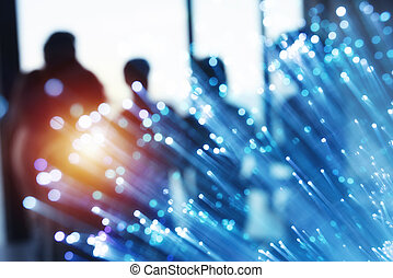 Futuristic abstract internet connection network with silhouette of business team