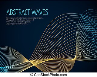 Futuristic abstract vector background with 3D illuminated sound wave