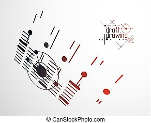 Futuristic abstract vector technology background. Mechanical engineering wallpaper. Art graphic illustration.