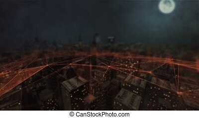 Futuristic aerial view. Connected city. Technology network concept. 3d animation