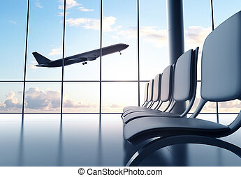 futuristic airport and airplane in window