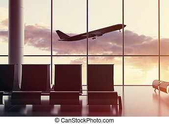 airport - futuristic airport and airplane in window