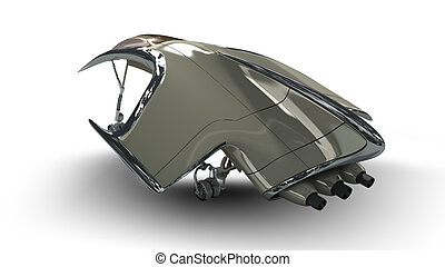 Alien spacecraft pod design for science fiction backgrounds of interstellar deep space travel or futuristic military battleship for fantasy games. Clipping path is included in the .jpg file.
