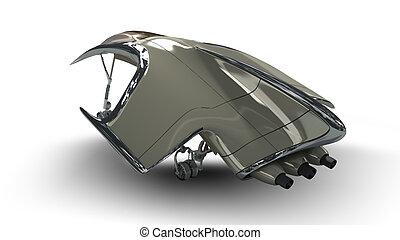Futuristic alien 3D military spaces - Alien spacecraft pod...