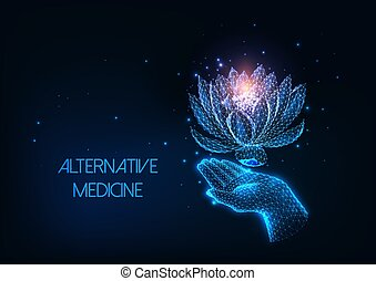 Futuristic alternative, holistic therapy concept with glowing low polygonal human hand and lotus flower isolated on dark blue background. Modern wire frame mesh design vector illustration.