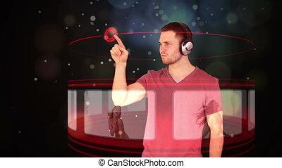 Futuristic animation with a man sel
