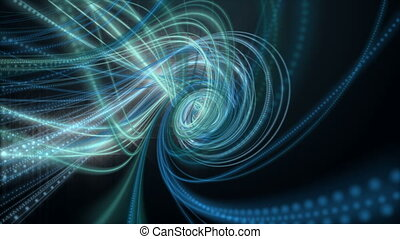 Futuristic animation with glowing particle stripe object in slow motion