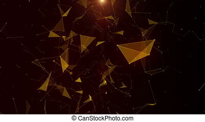 Futuristic animation with glowing triangles in slow motion,...