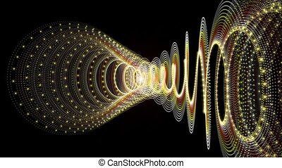 Futuristic animation with particle stripe object and...