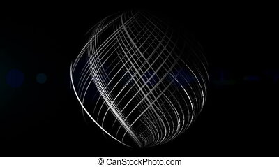 Futuristic animation with sphere and light in motion, loop -...