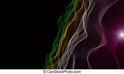 Futuristic animation with wave object and blinking light in...
