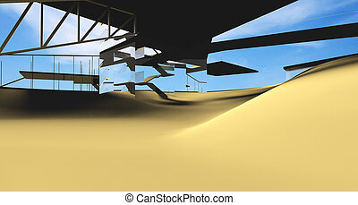 Futuristic Architecture on desert location