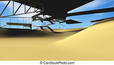 Futuristic Architecture on desert location