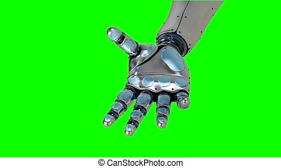 Futuristic artificial replacement part - arm, showing its functionality Robotic stretching arm, 3d rendering 4K