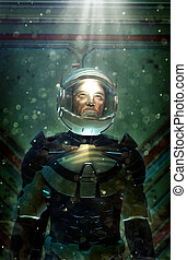futuristic astronaut in space suit 3D render science fiction...