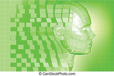 Futuristic avatar polygon mesh background - Futuristic 3D...