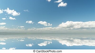 futuristic background consisting of Time lapse clip of white fluffy clouds over blue sky and their reflection, video loop.