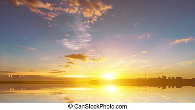 futuristic background consisting of Time lapse sea sunset scene time lapse video loop and their reflection, video loop.