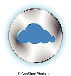 Futuristic background with circle metallic inset and cloud
