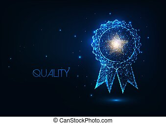 Futuristic best quality award badge concept with glowing low polygonal winner medal and golden star