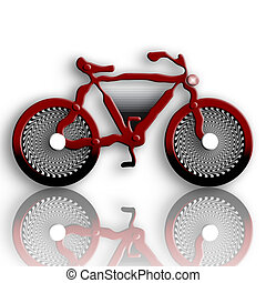 Futuristic Bike - Futuristic Red Bike over White Background...