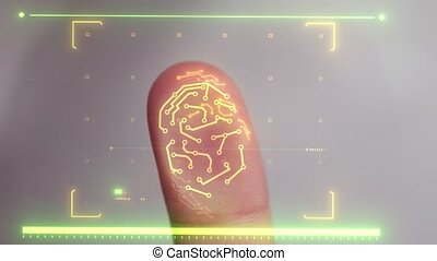 Biometric scanner scanning a human finger and identifying...