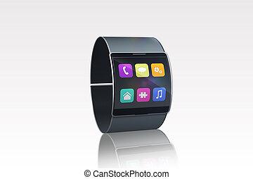 Futuristic black wristwatch with app menu on white ...