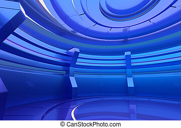 Futuristic blue interior with empty stage in the center. 3d rendering