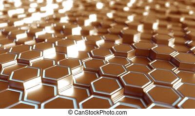 Futuristic bronze and blue hexagonal prisms