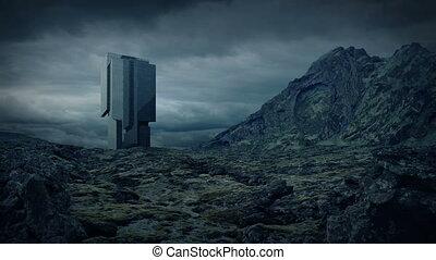 Futuristic Building In Mountain Landscape