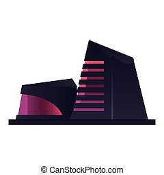 futuristic building on white background