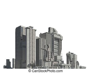 Futuristic buildings isolated on white background 3D Illustration