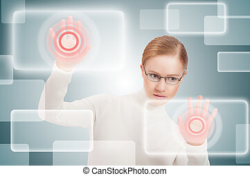 futuristic business concept interface. modern woman pushes on virtual buttons