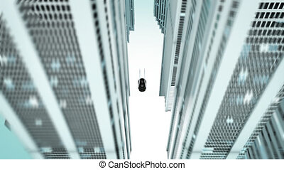 Futuristic car and town - 3D Animation