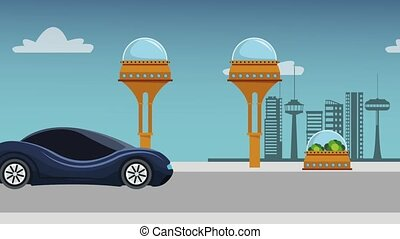 Futuristic car passing by city HD animation