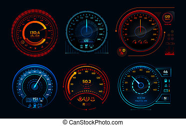 Futuristic car speedometer. Speed hud kilometer performance indicators dashboard, gas and fuel level analog panels vector collection